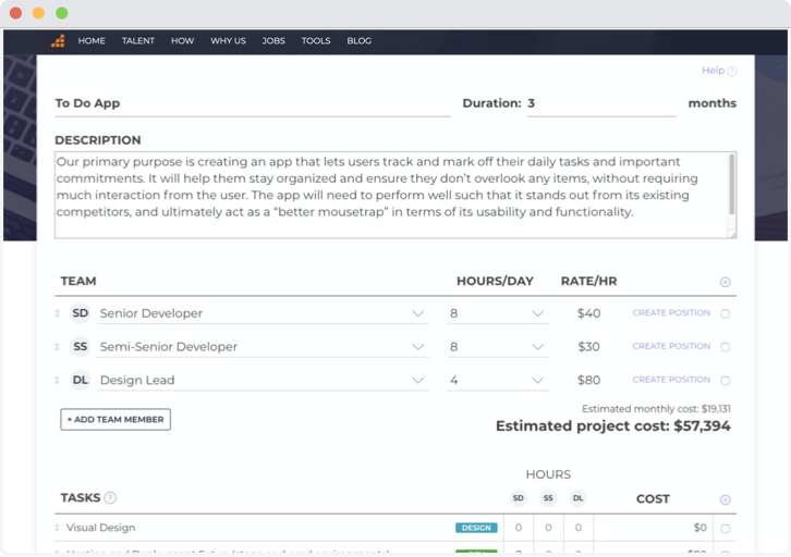 example of project estimator tool's estimated cost of a team